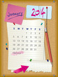 2014 calendar - month January - cork board with notes