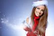 Christmas Santa hat isolated woman portrait hold christmas gift.