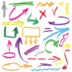 Set of many hand-drawn arrows isolated