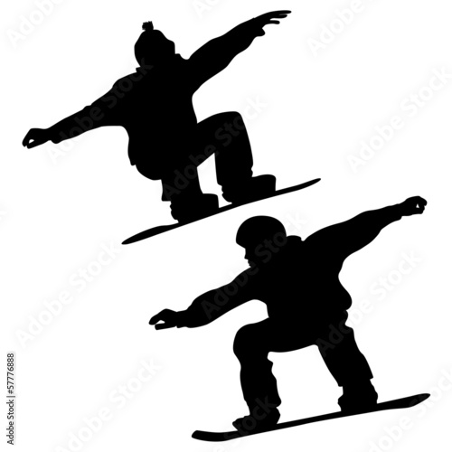 Collection. Snowboarder And A Skier