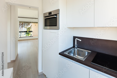 Interiors building, modern apartment, kitchen view
