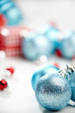 Christmas decoration, blue ball on white background