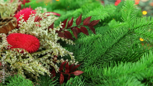 Beautiful Christmas decoration background with tree branch