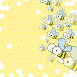 Bees And Honeycomb. Spring Background.