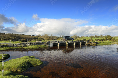 Granite Clapper Bridge on Bodmin Moor in Cornwall