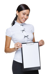 Smiling business woman showing blank paper