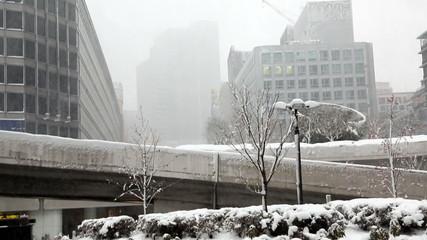 東京大雪(2013年1月14日) 新宿駅前