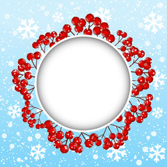 Red rowan frame on winter background