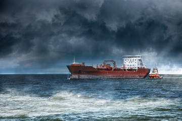 Ship at sea during a storm.