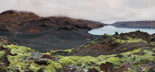 Lake in Reykjanes - panorama with green moss