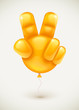 Orange balloon as human hand showing victory symbol