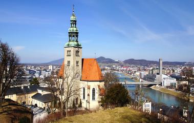 Panoramic view. Picturesque panorama of Salzburg.  Austria