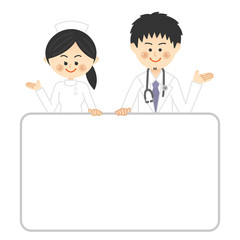 ホワイトボードを持つ医師と看護師