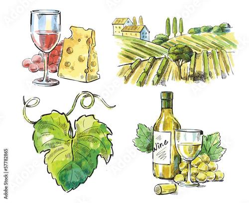 Hand drawn vector wine