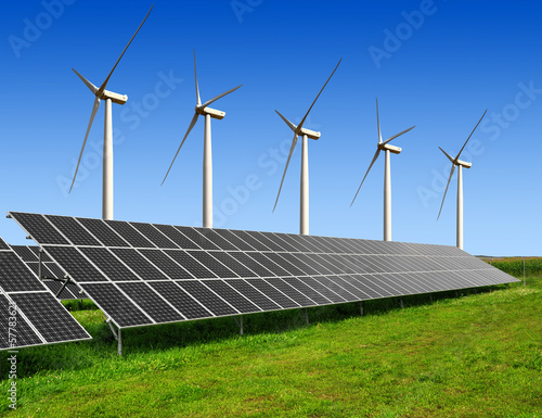 solar energy panels and wind turbines