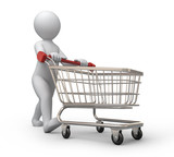 buyer, 3d human and shopping cart