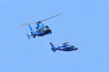 Helicopters working in pairs