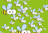 Green Background With Bees.