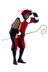 Zwarte Piet with the staff of Sinterklaas