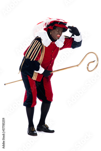 Zwarte Piet with the staff of Sinterklaas