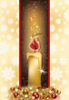 Elegant Christmas card with golden candle, vector illustration