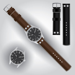 pilot watch with leather strap eps10