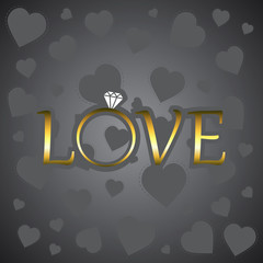Love with gold ring. Vector illustration