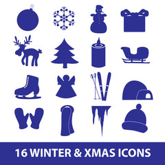 winter and xmas icon collection eps10