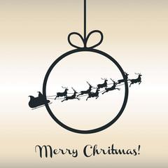 Christmas background with christmas ball and Santa's sleigh