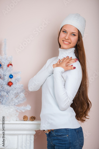 Girl in a white hat and sweater