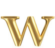 Golden matt lowercase letter w, jewellery font collection