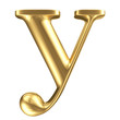 Golden matt lowercase letter y, jewellery font collection