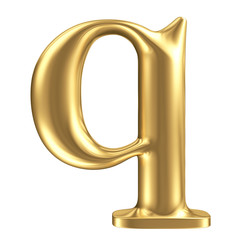 Golden matt lowercase letter q, jewellery font collection