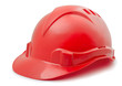 Red plastic hard hat