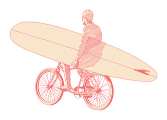 man carrying surf board ride bicycle