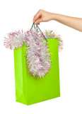 Picture of woman's hand with green shopping bag
