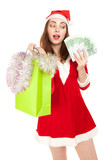 Beautiful woman in new year costume with shopping bag and euros