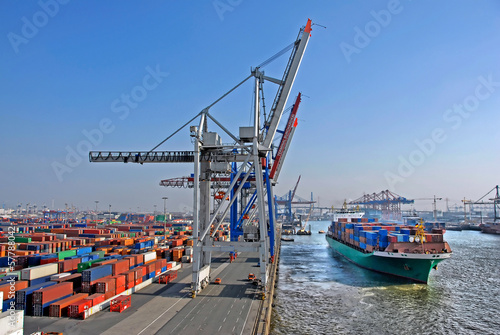 canvas print picture Container Terminal - Hamburg.