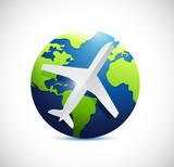 air plane and international world globe.