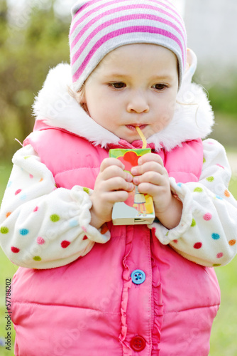 toddler with juice