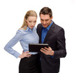 businesswoman and businessman with tablet pc