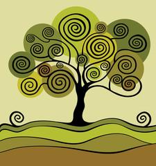 Green tree with curls. Garden.