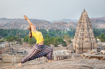 Yoga near temple in Hampi