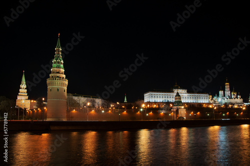 Moscow Kremlin and river at night