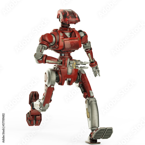 red robot running