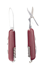 two use red pocket knifes, with different tools, isolated on whi