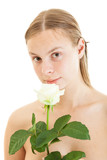 beautiful naked woman with white rose