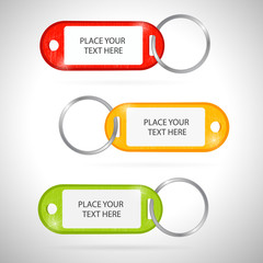 Key label with ring, red, orange and green color, vector