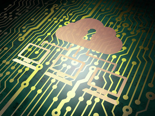 Security concept: circuit board with Cloud Network