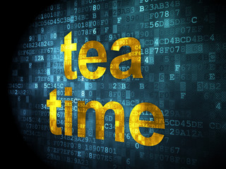 Time concept: Tea Time on digital background